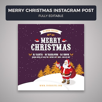Merry christmas instagram post banner template