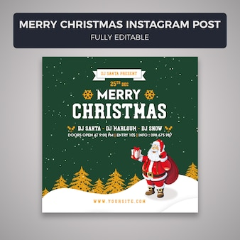 Merry christmas instagram post banner