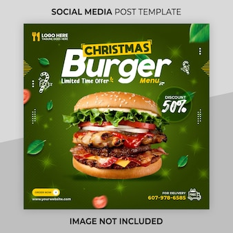 Merry christmas instagram post or square web banner template