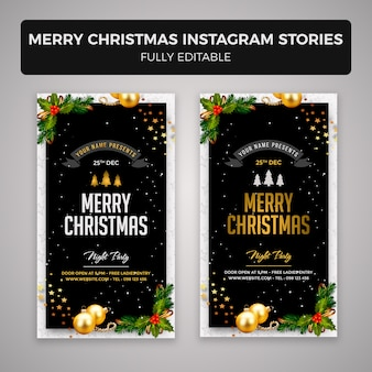Merry christmas instagram stories banner design