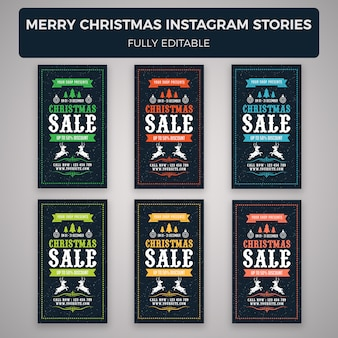 Merry christmas instagram stories banner template