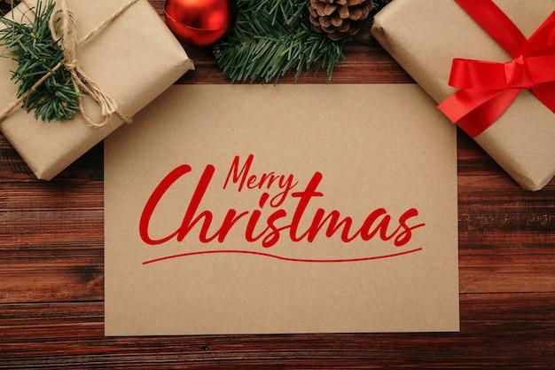 С рождеством христовым макет поздравительной открытки из крафт-бумаги