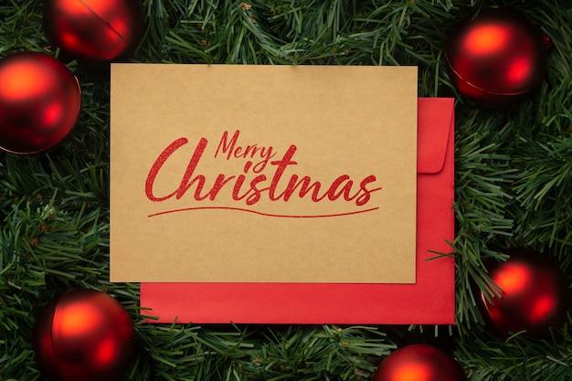 메리 크리스마스 크래프트 종이 인사말 카드 모형