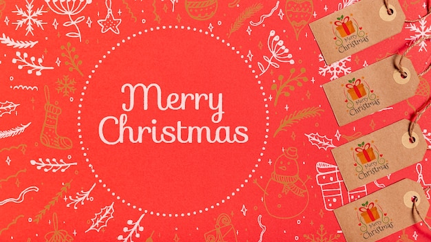Merry christmas labels with traditional festive background
