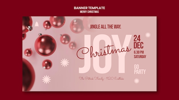 Merry christmas party horizontal banner