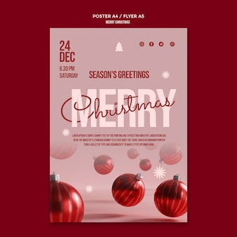 Merry christmas party poster with globes