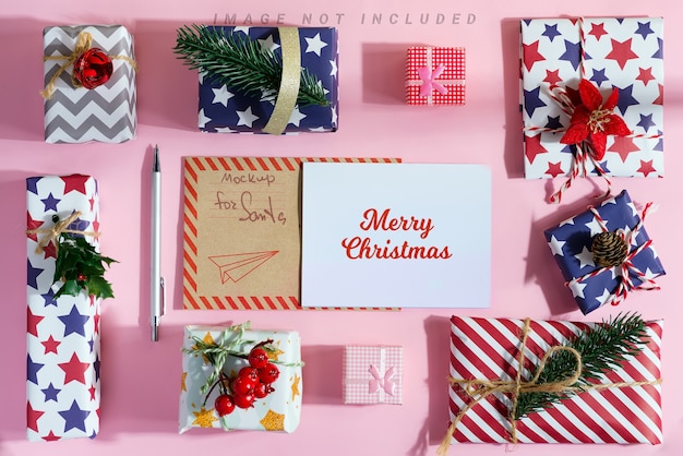 Merry christmas postcard with colorful different gift boxes around