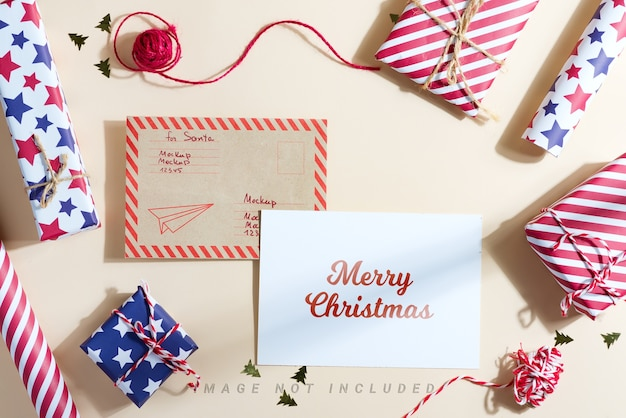 Merry christmas postcard with colorful different gift boxes