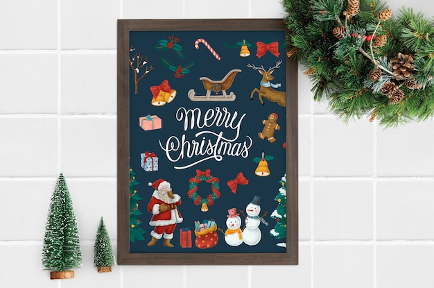 Merry christmas poster in a frame mockup