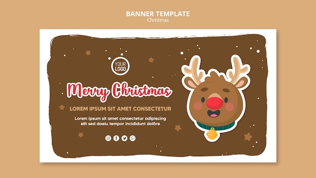Merry christmas promo square flyer template