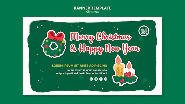 Merry christmas promo template square flyer