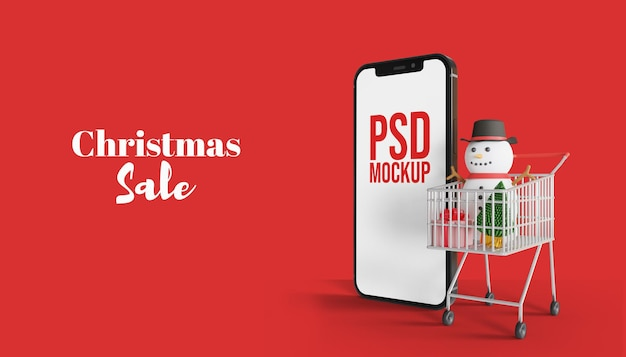 メリークリスマスセール3dスマートフォン画面モックアップ