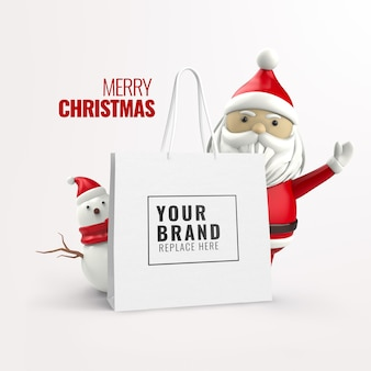 Merry christmas sale advertising mockup