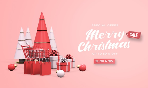 Merry christmas sale banner mockup with trolley, shopping bags, gift boxes, and pine tree
