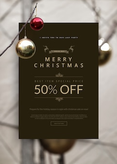 Merry christmas sale banner template vertical size