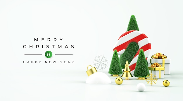 Merry christmas sale banner with 3d objects