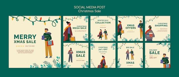Set di post di instagram di vendita di buon natale