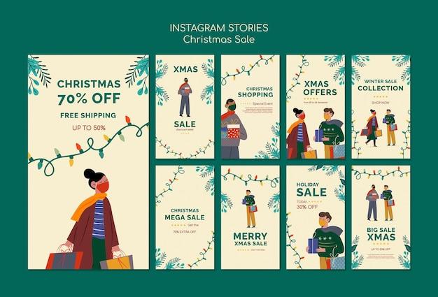 Set di storie di instagram di vendita di buon natale