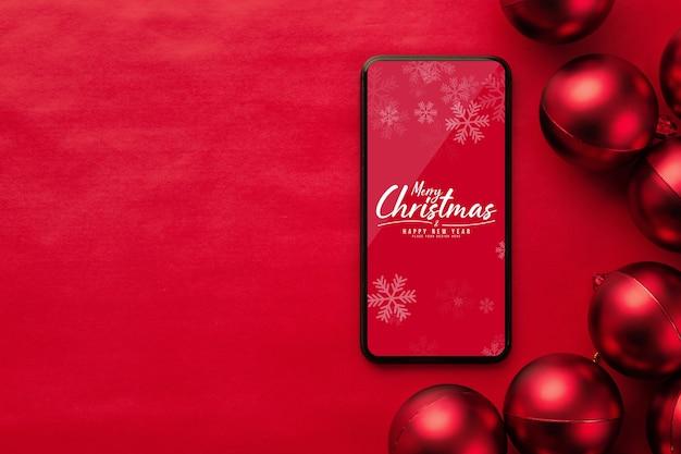 Merry christmas smartphone mockup with christmas balls