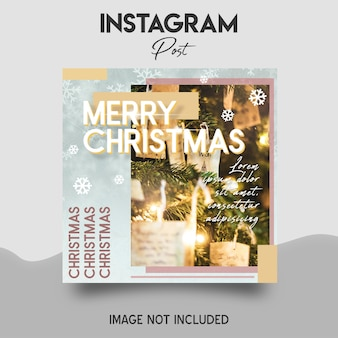 Merry christmas social media and instagram post template