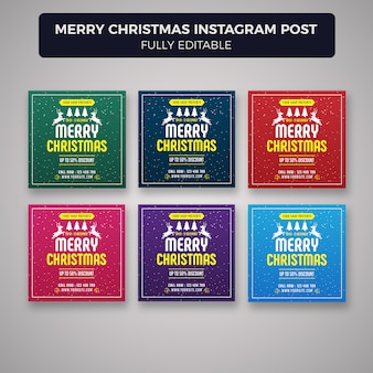 Merry christmas social media post banner template