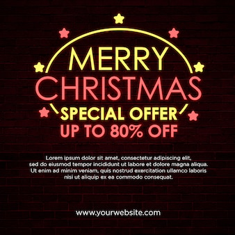 Merry christmas special offer square banner