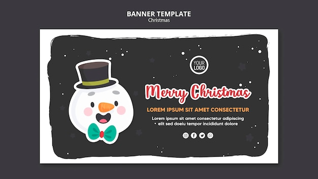Merry christmas square flyer template