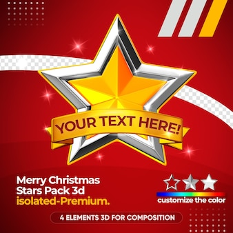 Merry christmas star pack for composition isolated