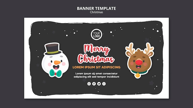 Merry christmas template square flyer