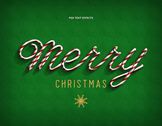 Merry christmas text style effect green