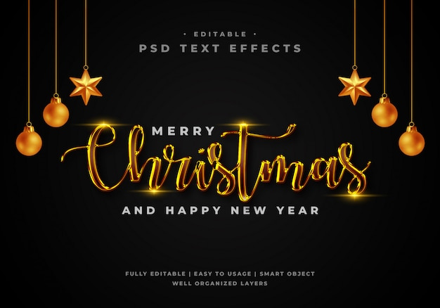 Merry christmas text style effect template