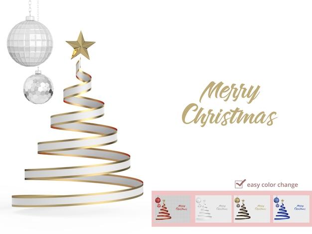 Merry christmas tree in 3d rendering