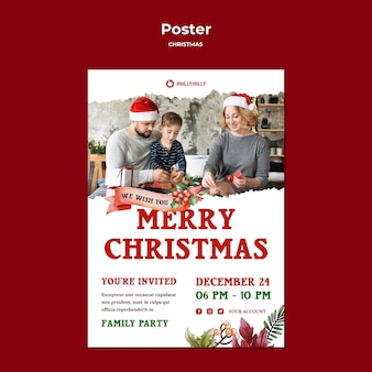 Merry christmas with family poster print template