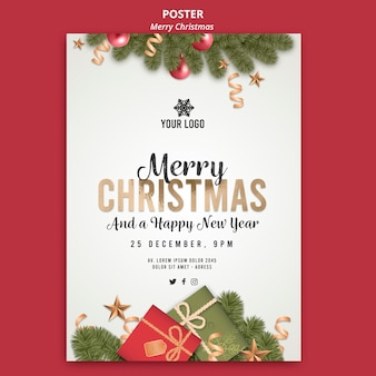 Merry christmas with gifts poster print template