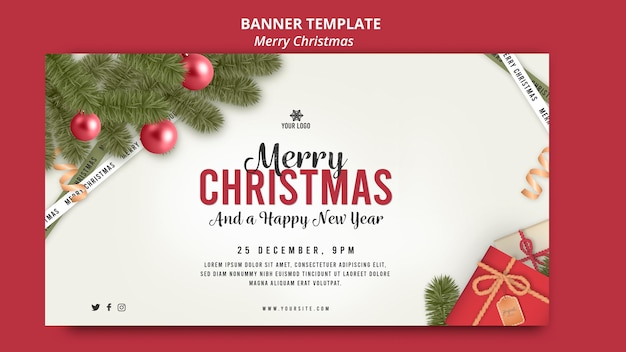 Merry christmas with globes and gifts banner