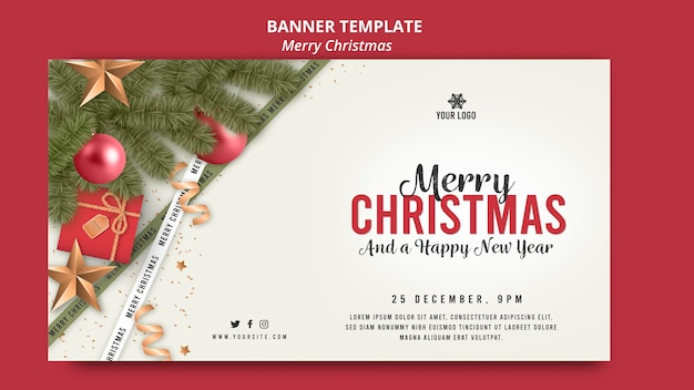 Merry christmas with pine tree banner