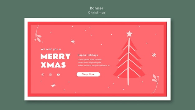 Merry xmas banner template