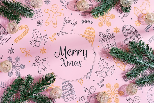 Merry xmas greeting card with fir twigs, shiny stars, small golden and silver spheres