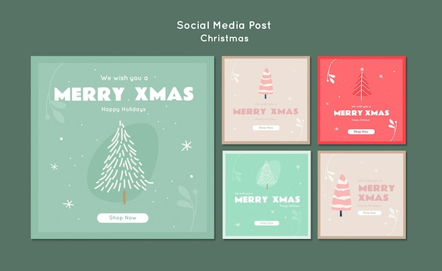 Merry xmas social media post template