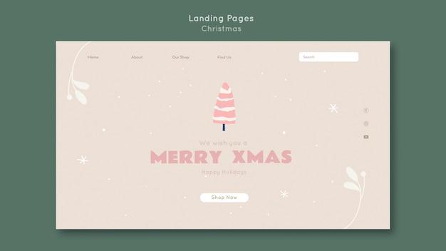 Веселая рождественская целевая страница шаблона