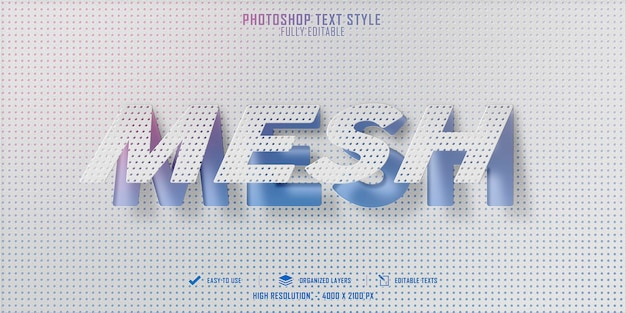 메시 3d 텍스트 스타일 효과 템플릿 디자인