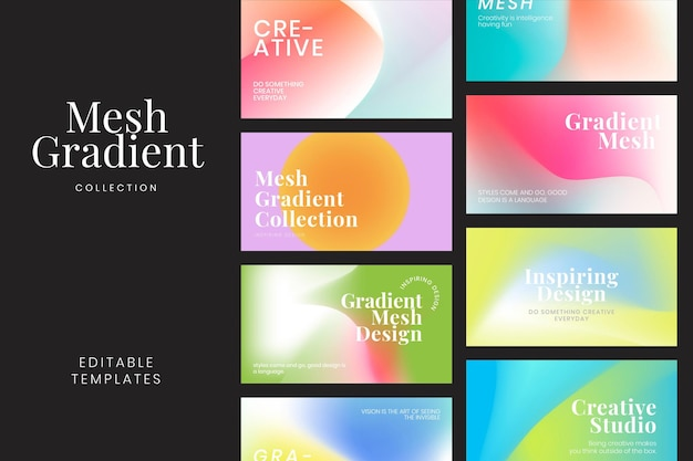 Mesh gradient template collection psd for blog banner
