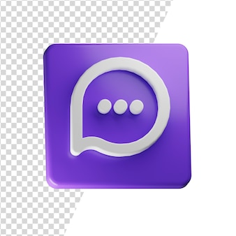 Message 3d icon rendering isolated concept