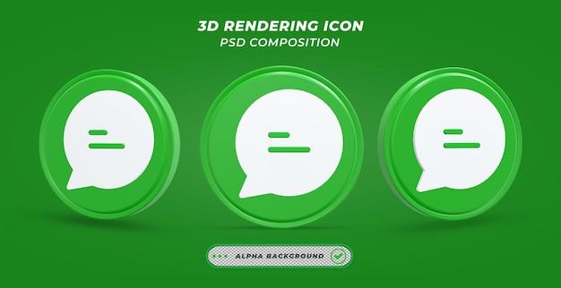 Значок сообщения в 3d-рендеринге Premium Psd