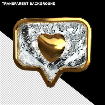 Message icon with gold and ice heart