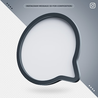 Message instagram 3d icon for compositing