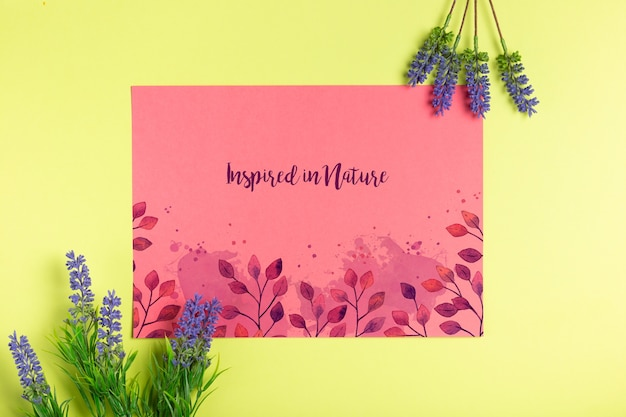 Message on paper with lavender beside