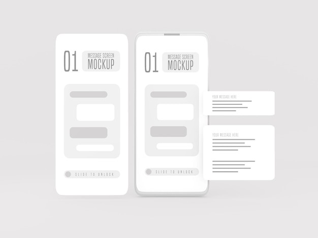 Messaging conversation concept on mobile phone mockup
