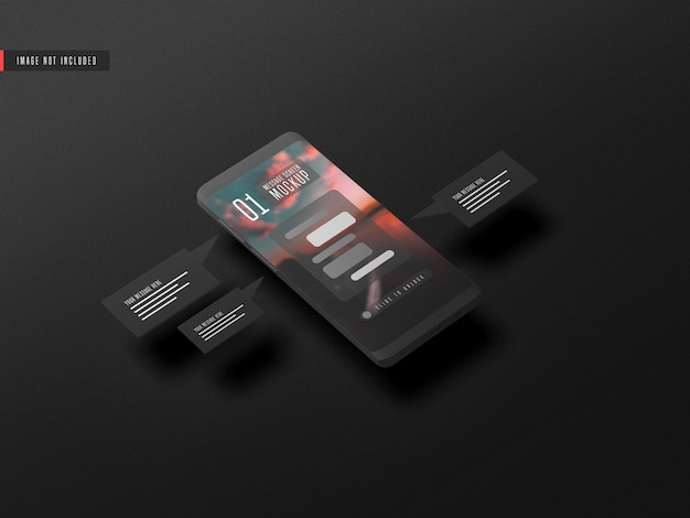 휴대 전화 모형에 메시징 대화 개념