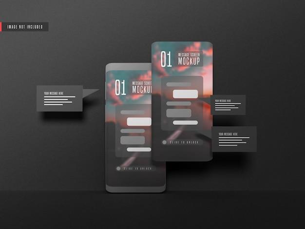 Концепция обмена сообщениями на макете мобильного телефона Premium Psd